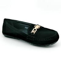 Women's Black Loafer with Charm Detail