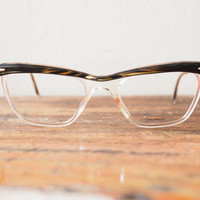 Vintage Cat Eye Frame Eyeglasses 1960's Made In france Two-Tone
