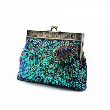 Handmade Sequined Beading Peacock Clutch Evening Party Bag,Free Shipping
