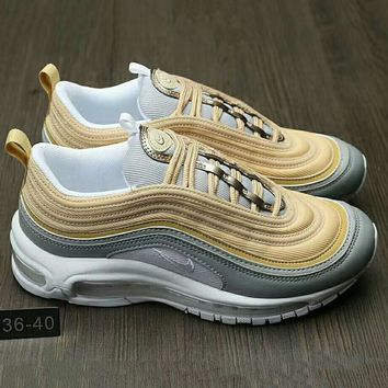 NIKE AIR MAX 97 Fashion Running Sneakers Sport Shoes Golden G-HAOXIE-ADXJ