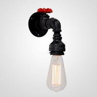 Vintage Metal Water Pipe Wall Lamp Max 40W With 1 Light Black Finish