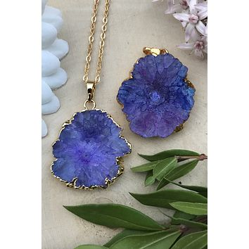 Purple Solar Quartz Necklace #I1029