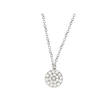 "Mini Sparkling Pave Cz Disc Necklace in Sterling Silver, 16"" + 2"""