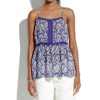 Silk Peplum Cami in Daisy Tumble