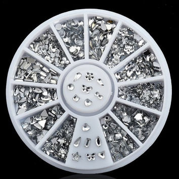 One Box White Various Shape Rhinestone DIY Nail Art Decoration