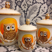 Owl Flour Sugar Coffee/ Tea Ceramic Container Set Kitsch made by Marks and Rosenfeld- Vintage 1950's