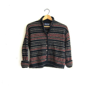 Vintage striped sweater. black and red striped wool cardigan sweater. Preppy cropped sweater.