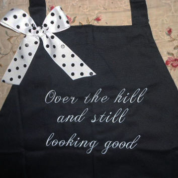 Over the hill Apron Retired Apron Gift Retirement Woman Gift Birthday Over 50