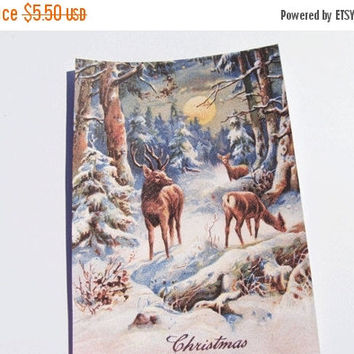 Winter Deer Cards - Set Of 4 -Christmas Deer - Forest Scene - Wildlife Cards - Christmas Cards - Woodland Deer - Animal Cards -