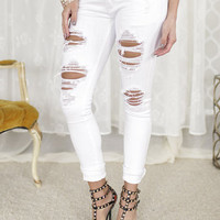 Chillin White Distressed Jeans