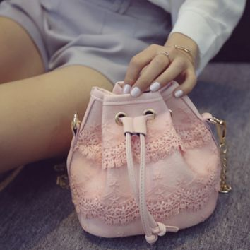 New bud silk chain smoking with bucket bag - lovely mini bag - one shoulder aslant package Pink