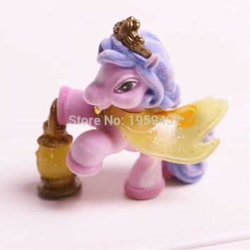 New 1pcs 5cm Little carton flocking horses Action Figures Filly Unicorn Doll Anime Figurines Figures Kids Toys For gift