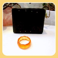 """Joy"" Scallop Orange Jade Ring Size 8.5"