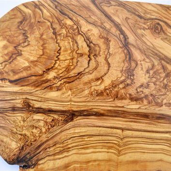 Large Greek Olive Wood Cutting Serving, Board, Chopping Board, Tableware, Natural Edge, 35cm long (13 25/32in), customize, personalized