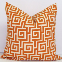 Pillow.Burnt Orange.Nate Berkus Featured These.18x18 inch.Decorator Pillow Cover. Printed Fabric on Both Sides.Greek Key.Indoor.Outdoor