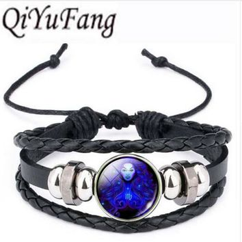 Qiyufang 12 Constellations Astrology Statement bracelet bangle Choker bracelet bangle Women Silver Color Vintage Jewelry 2017