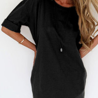 Black Half Sleeve Tee Dress