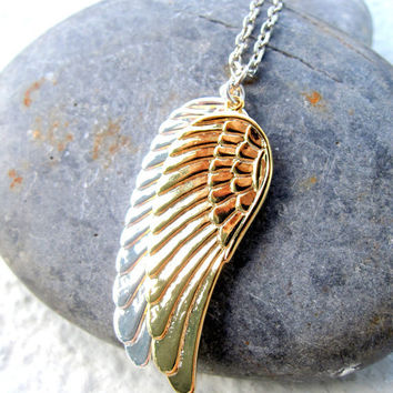 Angel Wings Necklace Silver Gold Men Necklace For Him Unisex Jewelry