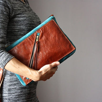 Multi pocket leather clutch, rust and teal leather purse, suede clutch, zipper clutch / purse, wrist strap