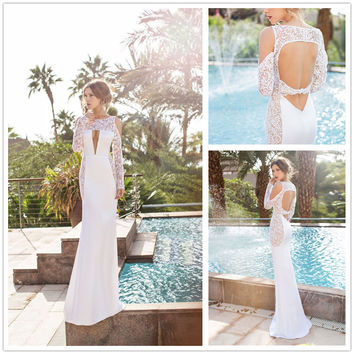 White Floral Lace Cut-Out Long Sleeve Maxi Dress