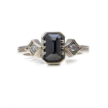 Emerald Cut Black Diamond Engagement Ring with White Diamonds Sides - Two Paths Three Stone Ring