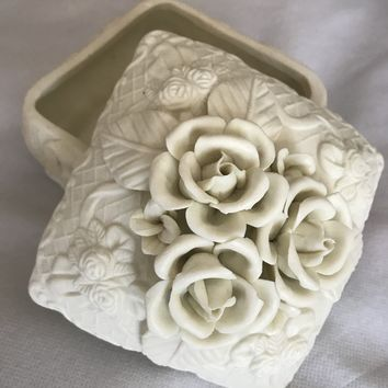 Vintage Parisian Bisque Ornate Rose Trinket Box