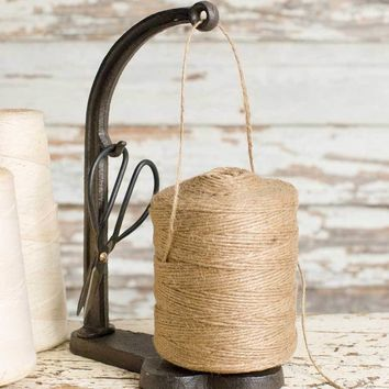 Rustic Country Style String and Shears Set Twine Cast Iron Caddy Stand with Scissors