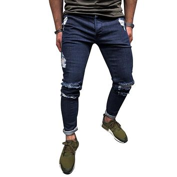 0cda29cd2f32e NIBESSER Deep Blue 2018 Men Jeans Stretch Destroyed Ripped Stree