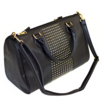 Studded Vegan Leather Duffle Bag