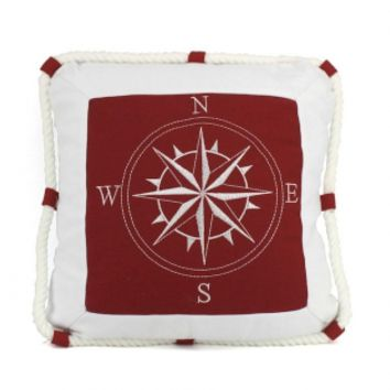 "Compass With Ropes Decorative Throw Pillow 16"" - GoNautical"