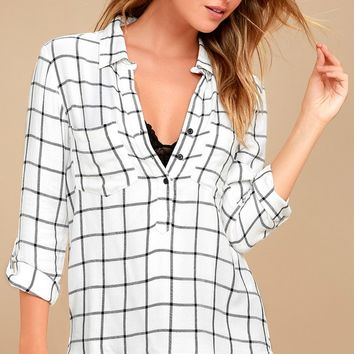 Good to Me White Grid Print Long Sleeve Top