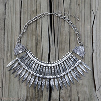 Leaf It Up To Me Bib Necklace - Silver