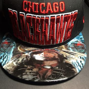 Chicago Blackhawks Authentic New Era Snapback or Fitted Cap with Chief custom