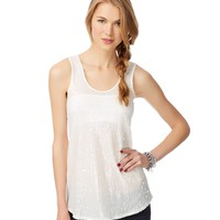 Aeropostale Paillette Tunic Tank - Cream, X-Small