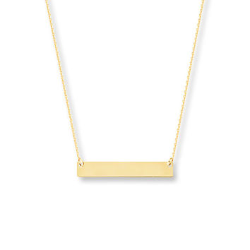 Bar Necklace 14K Yellow Gold 16-18