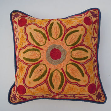 Handmade embroidered cushion cover, indian handwork suzani pillow cover, Pom Pom Pillow Cover, Bench Cushion, Floral Cotton Fabric, Decor