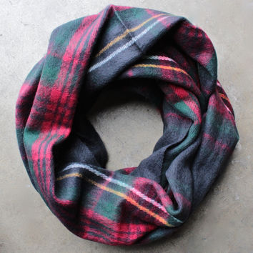 warm + cozy tartan plaid infinity scarf