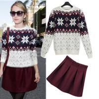 Geometric Print Knitted Sweater With Maroon Pleated Mini Skirt