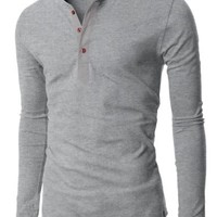 H2H Mens Henley T-shirts with Long Sleeve GRAY (US-M)