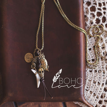 Owl Antique Charm Drop Chain Necklace