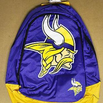 Minnesota Vikings BackPack / Back Pack Book Bag NEW - TEAM COLORS BIG LOGO