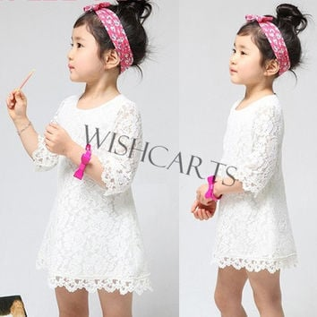 Girl's Kids Clothing Beautiful Girls Lace Dress Princess Mini Dress = 1645613828