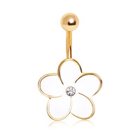 316L Enameled Flower Navel Ring with Center Glass/Gem and Gold Plated Trim