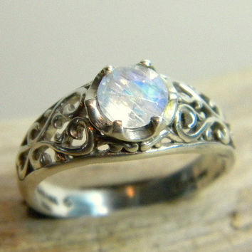 Moonstone Ring, Filigree Ring, Sterling Silver Ring, Silver Filigree Ring, Moonstone and Silver, Romantic Ring
