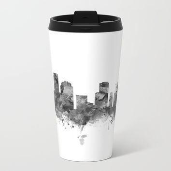Houston Skyline Black and White Metal Travel Mug by monnprint