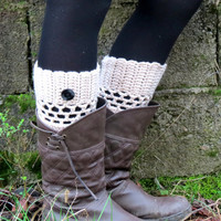 Tan Short Knit Boot Cuffs with black button. Short Leg Warmers. Crochet Boot Cuffs. Vanilla - tan Legwear