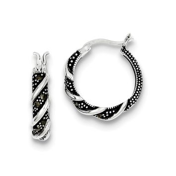 Sterling Silver Swirl Hoop Marcasite Earrings
