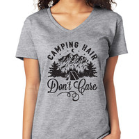 Camping Hair Don't Care V-Neck Tee