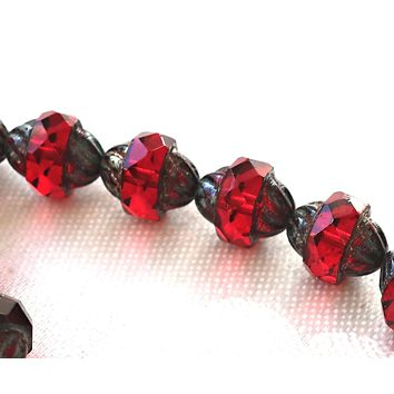 Five Czech glass faceted turbine beads, 11 x 10mm, transparent garnet, ruby red with a picasso finish C00101