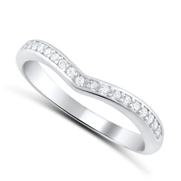 Sterling Silver Simulated Diamond Thin V shaped Ring